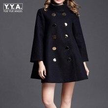 Модное зимнее пальто размера плюс, женское длинное шерстяное пальто, высокое качество, двубортное шерстяное пальто, пончо, Осеннее кашемировое пальто