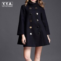 Fashion Plus Size Winter Coat Women Long Wool Coats High Quality Double Breasted Woolen Jacket Poncho