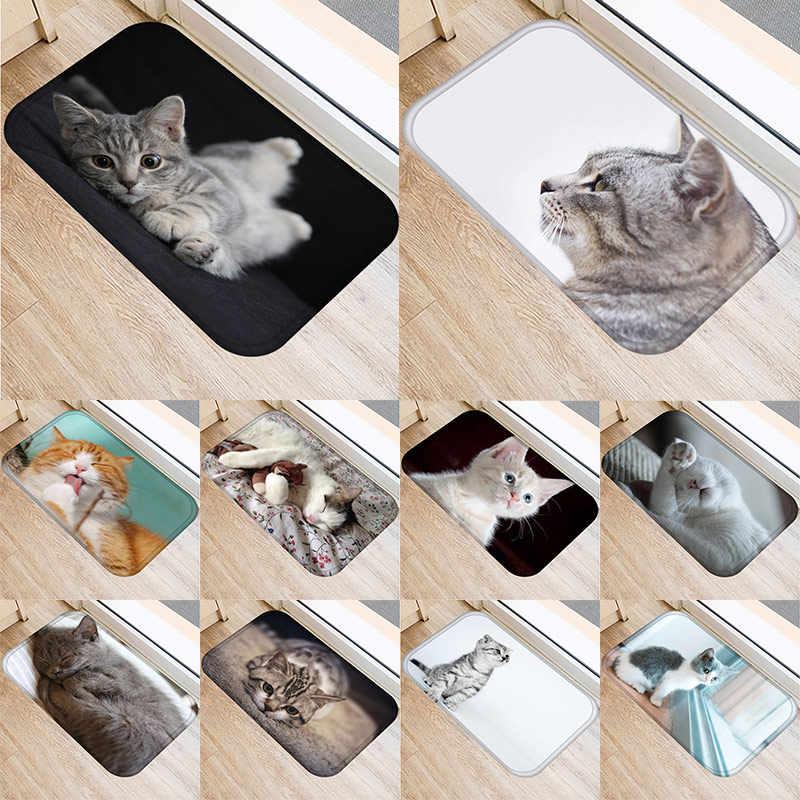 1 шт. 40*60 см милый кот шаблон Коврик противоскользящий замшевый ковер комнатный половик кухня ванная комната Гостиная дверной коврик 48237