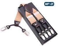 GUCHOL Men S 6 Clips Leather Suspenders Adjusted 5 Colors Decorative Pattern Elastic Trousers Braces Strap