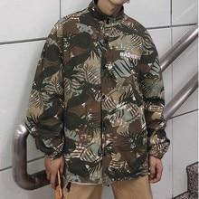 Camouflage Palm Tree Printed Jackets Men Two Sides Wear Mens Tide Brand Jacket Hip Hop Harajuku Casual  Coat Street