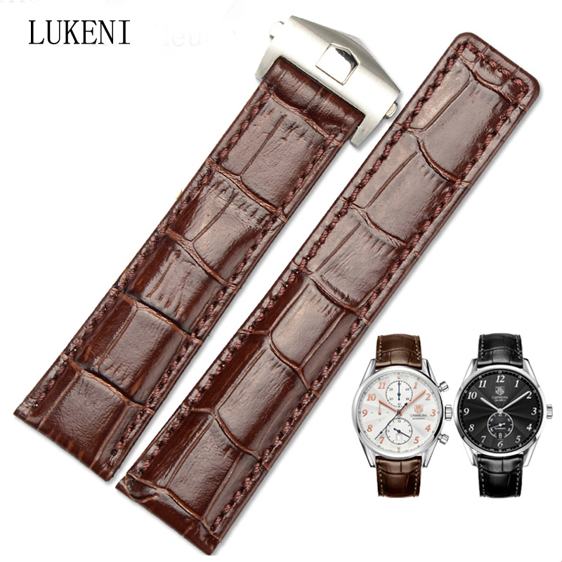 LUKENI 20mm 22mm Genuine Leather Watch Strap Black Brown Watchband With Brown Black Stitched For TAG With Heuer Logo genuine leather watchband 20mm black brown replacement leather wristband for garmin vivomove apac strap