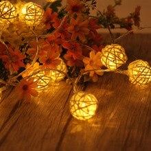 AC110-220V США/ЕС Plug 4.5 м 20LED теплый белый ротанга мяч Гирлянды светодиодные Освещение Рождество свет для Свадебная вечеринка украшения