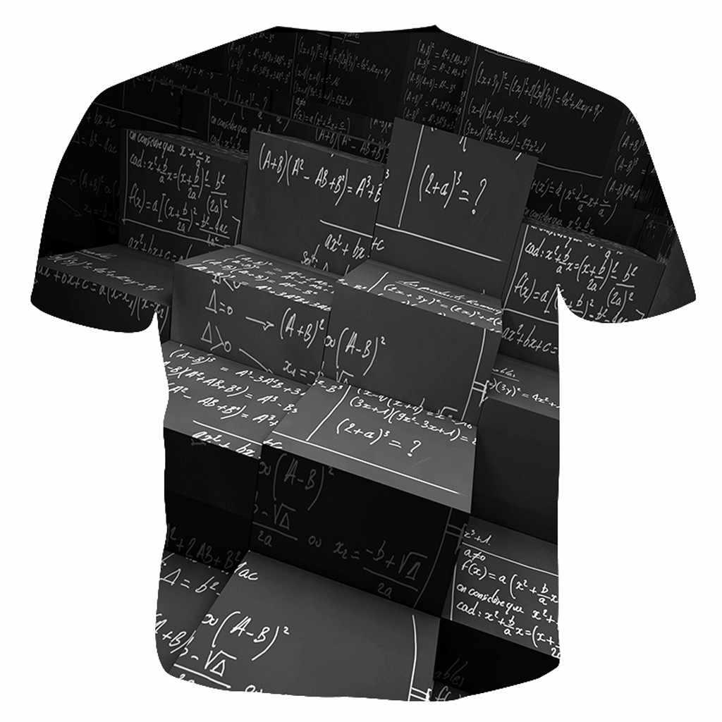 Musim Panas Ukuran Plus 2019 3D T Shirt Pria Rumus Matematika Dicetak Lengan Pendek Fashion Lucu Tshirt Men Camisetas Hombre