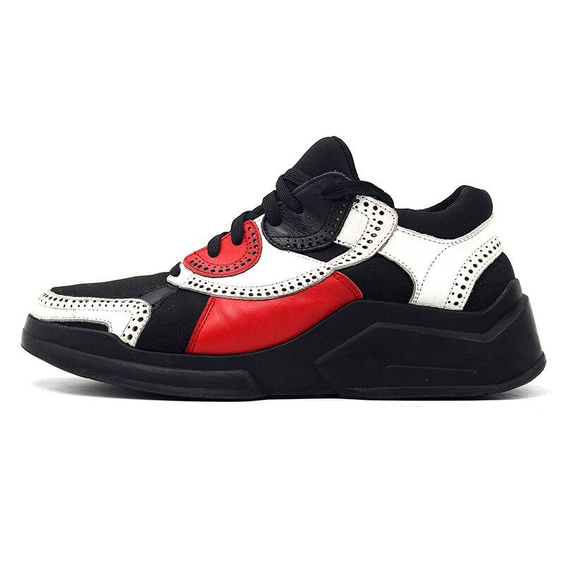 Noir Blanc En Zapatillas model Top Model Cuir 2 Sculpté Casual Chaussures Épais Rouge Lambrissée Qualité Hommes Classique 1 Hombre Sneaker Fond f6yb7g