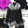 2017 Real Mink Fur Coat Jacket with Real Natural Fox Fur Collar Women Genuine Mink Fur Coat Russian Winter Warm Coats & Jackets