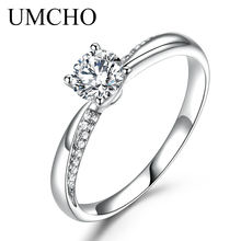 UMCHO Solid 18k White Gold Natural Diamond Moissanite Rings for Women Forever Round Solitaire Engagement Wedding Ring Band Gift(China)