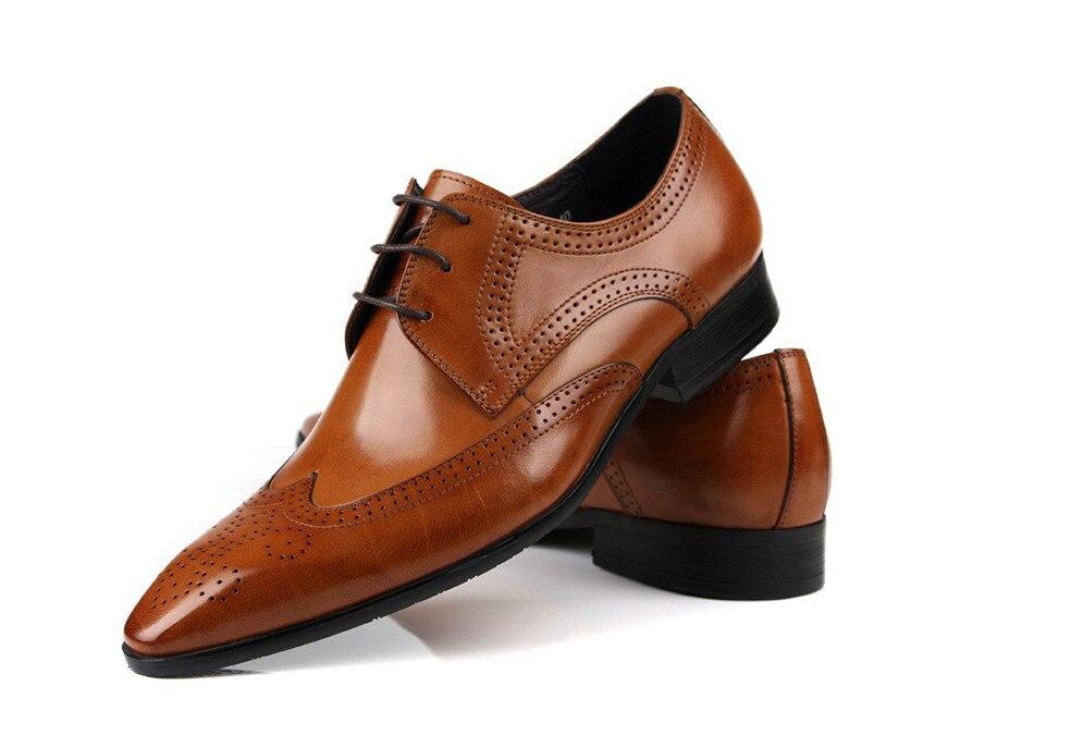 Véritable cuir beige noir mode Italienne chaussures hommes Marque des hommes d'affaires de robe chaussures Rétro Noir Sculpté Chaussures De Mariage - 2