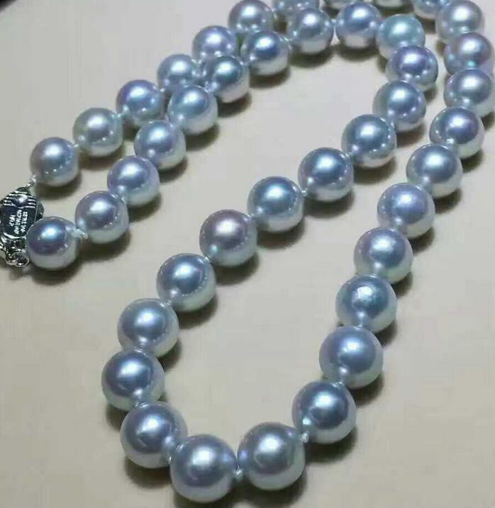 """18/"""" Genuine Natural 12mm Black round pearl Necklace 925silver clasp!"""