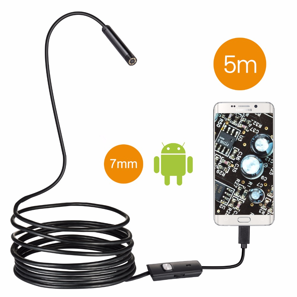 Android Smartphone USB Endoscope Camera 7.0mm Lens IP67 Waterproof Inspection Borescope 5M Cable For Windows Android Snake Cam ...