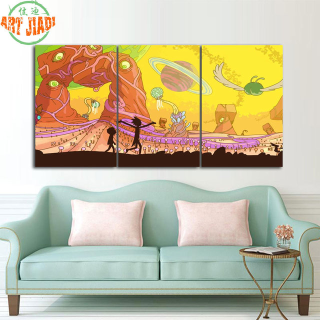 3 Piece Painting On Canvas Wall Art Nyc Street Lights New: 3 Piece Canvas Art Poster Rick And Morty Adult Swim Adult