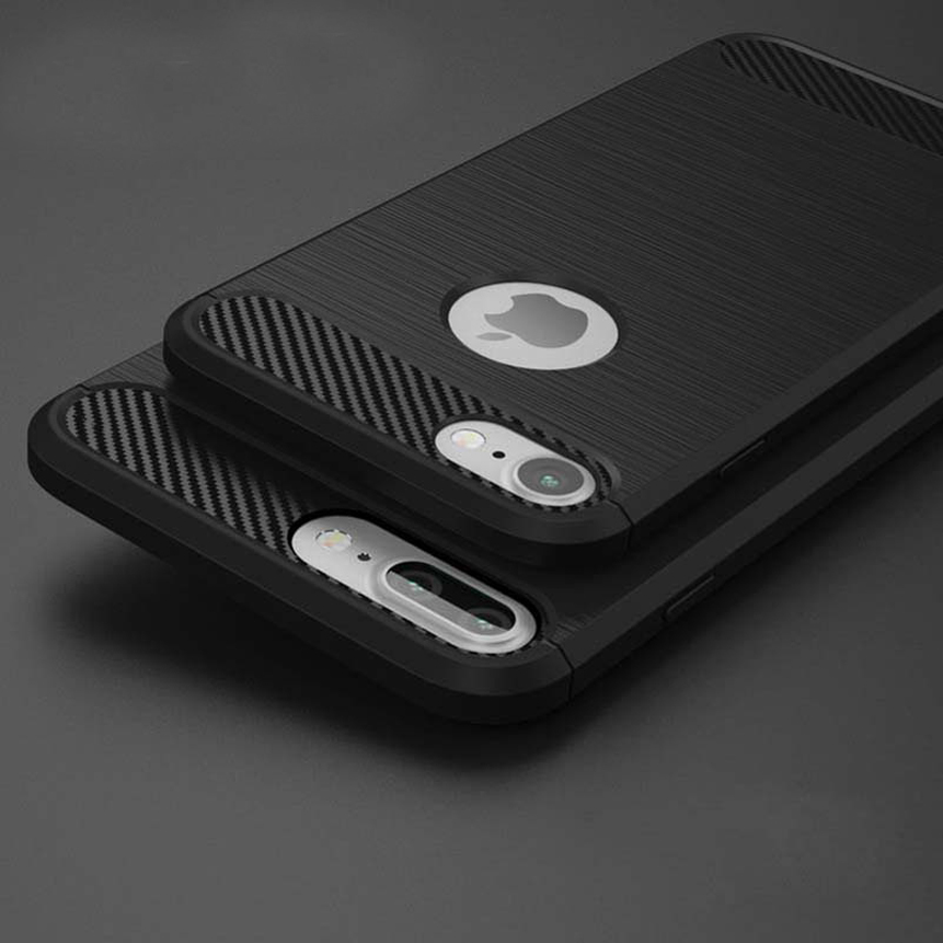 For Apple For Iphone 5 5S SE 6 6S 7 8 Plus X Case Carbon Fiber Shockproof Armor Silicone Phone Cases Back Cover Coque