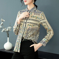 100% Silk Vintage Print Office Lady Work Long Sleeve Blouse 2019 New Women Spring Summer Loose Straight Single Breasted Shirts