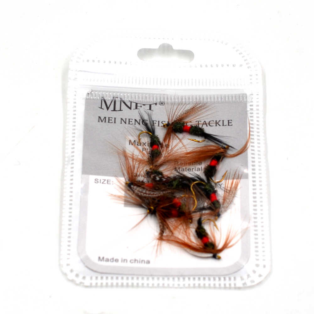 MNFT 10PCS [10#] Grey Hackle Peacock Coachman Fly Trout Fishing Bait Dry  Flies Royal Wulff Brown Hackle Fishing Fly Lures