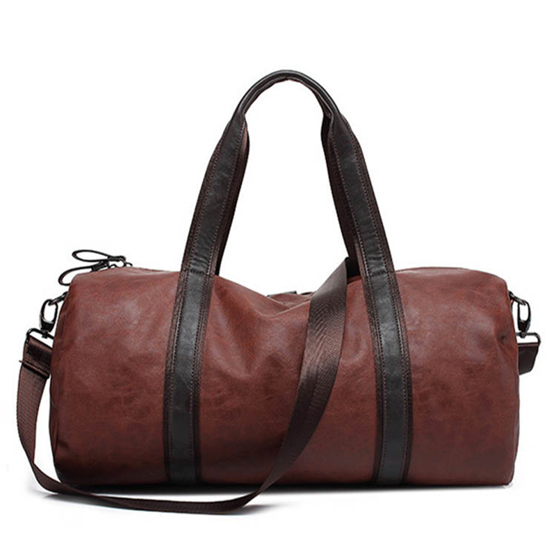 Vintage military PU Leather Crazy men travel bags Carry on Luggage bags Men  Duffel bag travel tote large weekend Bag Overnight a1283b4524c0f