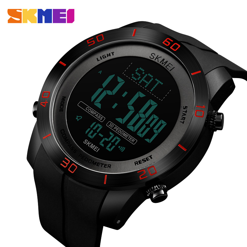 <font><b>SKMEI</b></font> Compass Pedometer Calorie Mileatge Distance Metronome Sports Watches Countdown Digital Watch Waterproof Wristwatches image