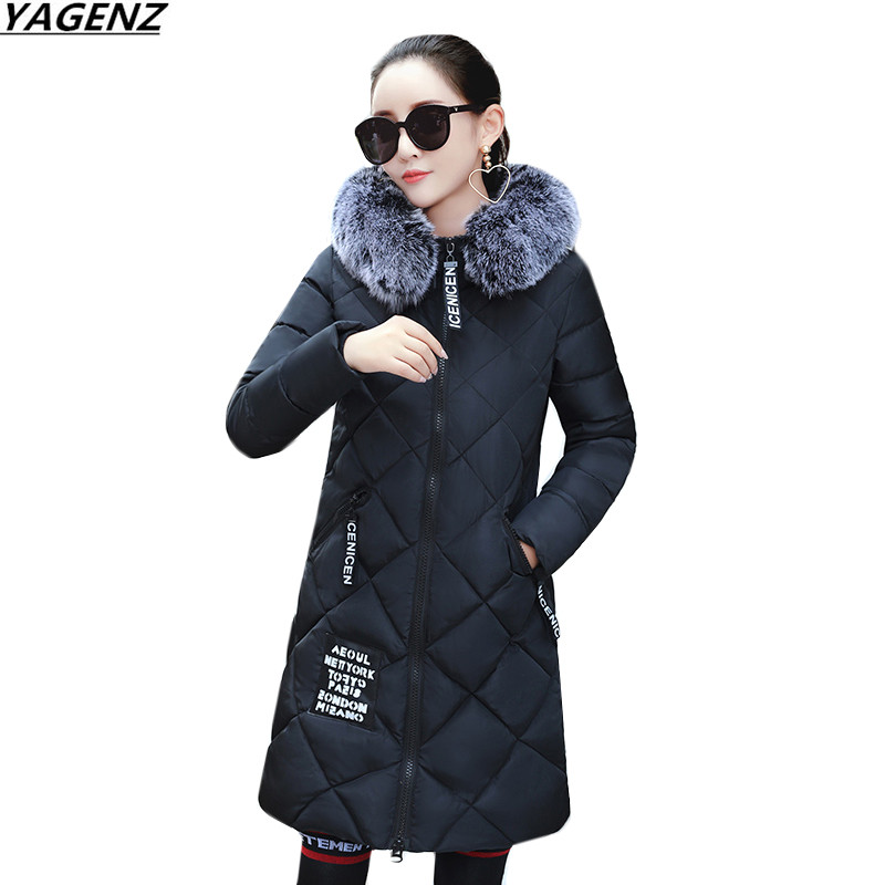 Winter Cotton Coat Women Jacket 2017 New Fashion Hooded Fur Collar Medium Long Outerwear Lady Thicken Down Cotton Jacket YAGENZ 2015 winter new medium long nondetachable raccoon fur hooded thicken warm a line women cotton padded jacket coat outerwear wy342