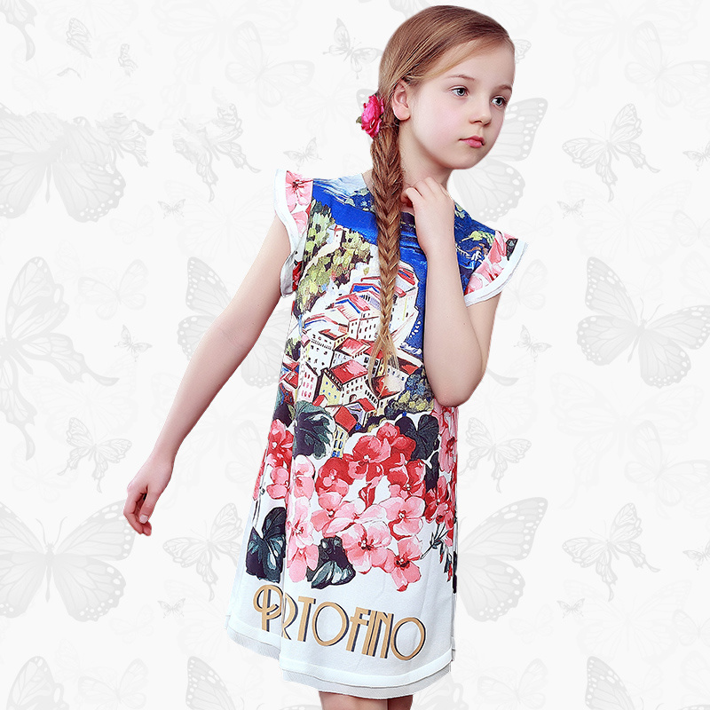 все цены на Floral girl dress summer dress thin children's clothing children's princess dress summer big children's print dress