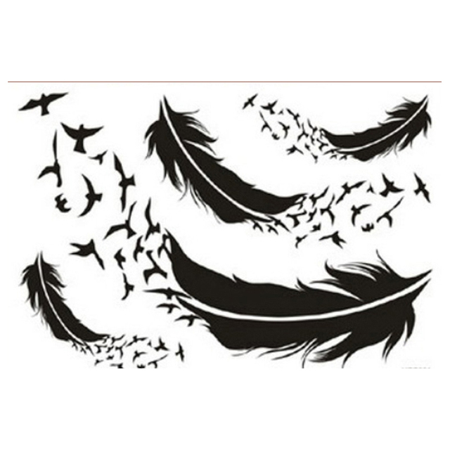 Fashionable Women Temporary Tattoos One Time Tattoo Stickers Feather Tatoo Body Art Removable Temporary TattoosFor Men