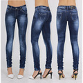 Sexy stretch azul oscuro lápiz blanqueados jeans cintura baja encuadre de cuerpo entero mujeres del dril de algodón jadea jegging leggings mujer de talla grande