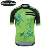 Мудрость листья 2017 дизайнерский бренд Мужчины Профессиональный Велоспорт Джерси Женщины с коротким рукавом велосипед одежда команда майк
