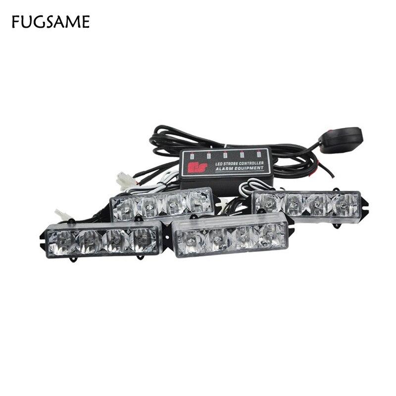 FUGSAME Новые авто 16 светодиодов строб вспышки мигает белый свет/свет полосы для палуба даш решетка