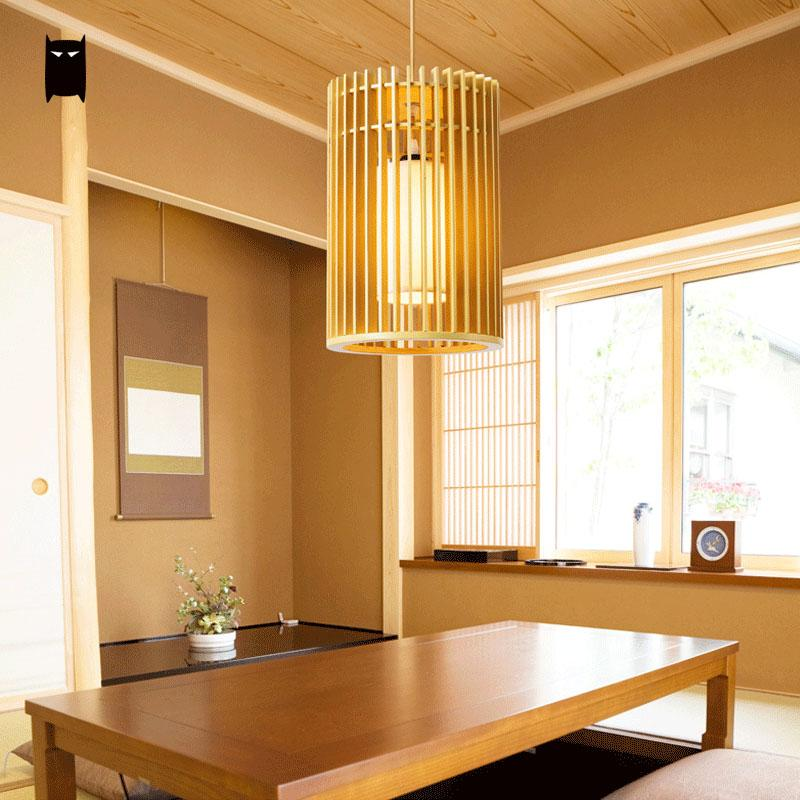 Wood Pendant Light Tatami Fixture Rustic Korean Asian Japanese Hanging Lamp Luminaria Indoor Home Dining Table Room Restaurant