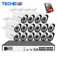 Techege 16CH 4K POE NVR 5MP Audio Kameras kit PoE IP Kamera Onvif FTP CCTV System IR Outdoor Nacht vision Video Überwachung Kit