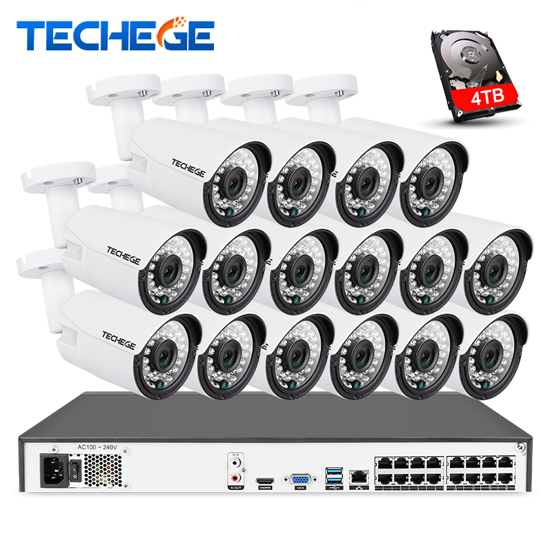 Techege 16CH 4 K POE NVR 5MP 3MP kit PoE cámara IP P2P nube Onvif FTP sistema CCTV IR al aire libre night Vision Video vigilancia Kit
