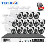 Techege 16CH 4K POE NVR 5MP Audio Cameras kit PoE IP Camera Onvif FTP CCTV System IR Outdoor Night Vision Video Surveillance Kit