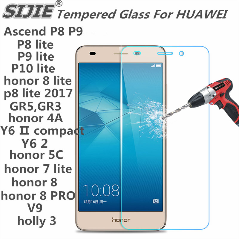 Tempered Glass For HUAWEI Ascend P8 P9 P10 lite 2017 honor 5C 5X 5S GR5 GR3 4A Y6 2 7lite 8 PRO V9 cover Screen protective 9H on in Phone Screen Protectors from Cellphones Telecommunications