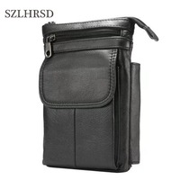 SZLHRSD Cell Phone Case Genuine Leather Zipper Pouch Belt Clip Waist Purse Cases Cover For Huawei
