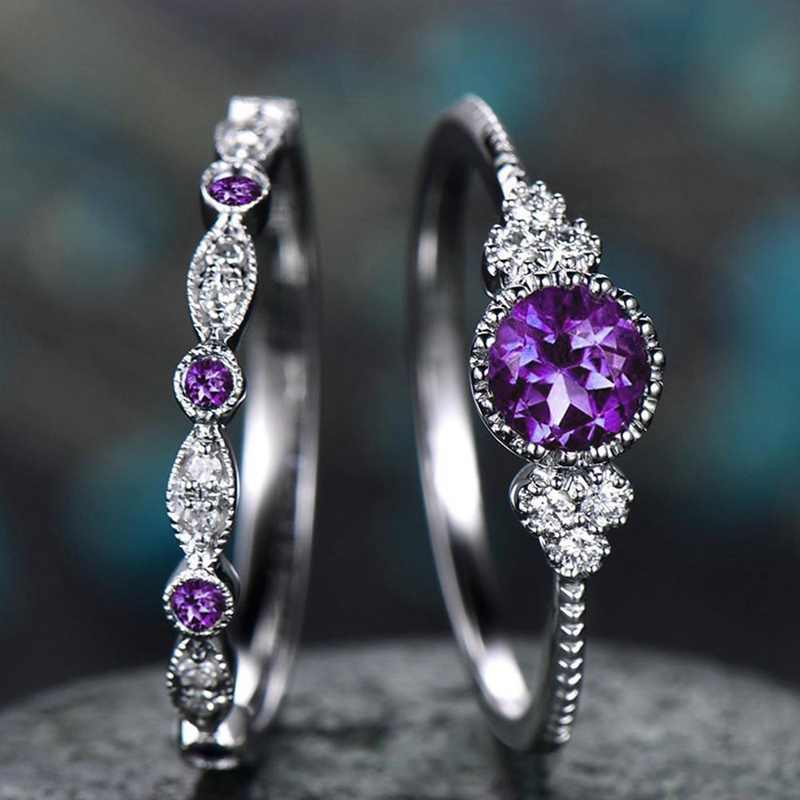 Luxury Green Blue Stone Crystal Rings For Women Sliver Color Wedding Engagement Rings Jewelry Drop Ship Pour 2Pcs/Set
