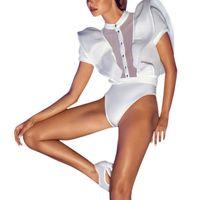 Sexy Elegante Frauen Kräuselte Body One Piece Bodycon Overall-spielanzug Aushöhlen Schlank Overall Schwarz Weiß