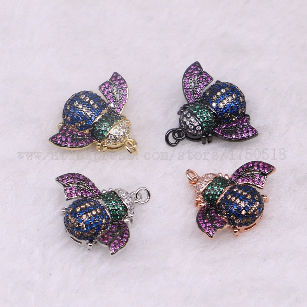 5 pieces bugs insects bee pendants for lady charm small size bee jewelry making micro paved mix color pendants pets beads 3289