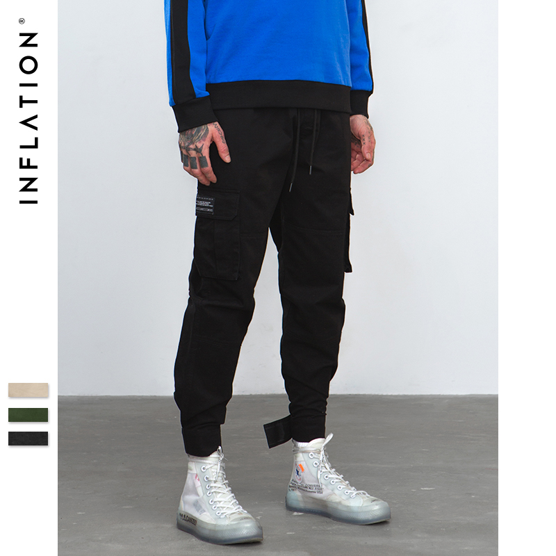 INFLATION 2019 New Casual Pants High Street Men Brand Clothing Elastic Male Trousers Men Joggers Leggings Pencil Pants 8869W