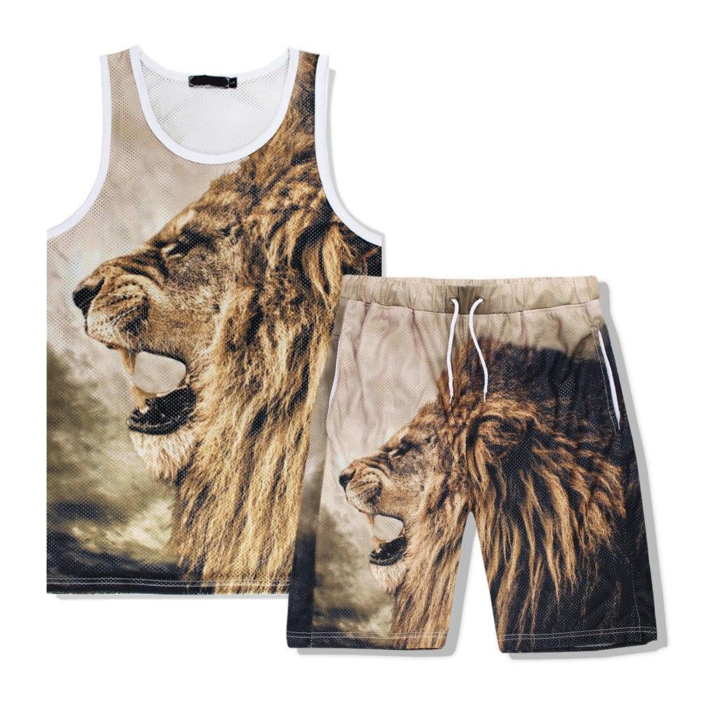 2017 Summer Mesh Tank Top Tracksuit Sets 3D Animal Lion Print Tank and Shorts Set Men Fitness Sleeveless T shirt Top S-XXL R2383