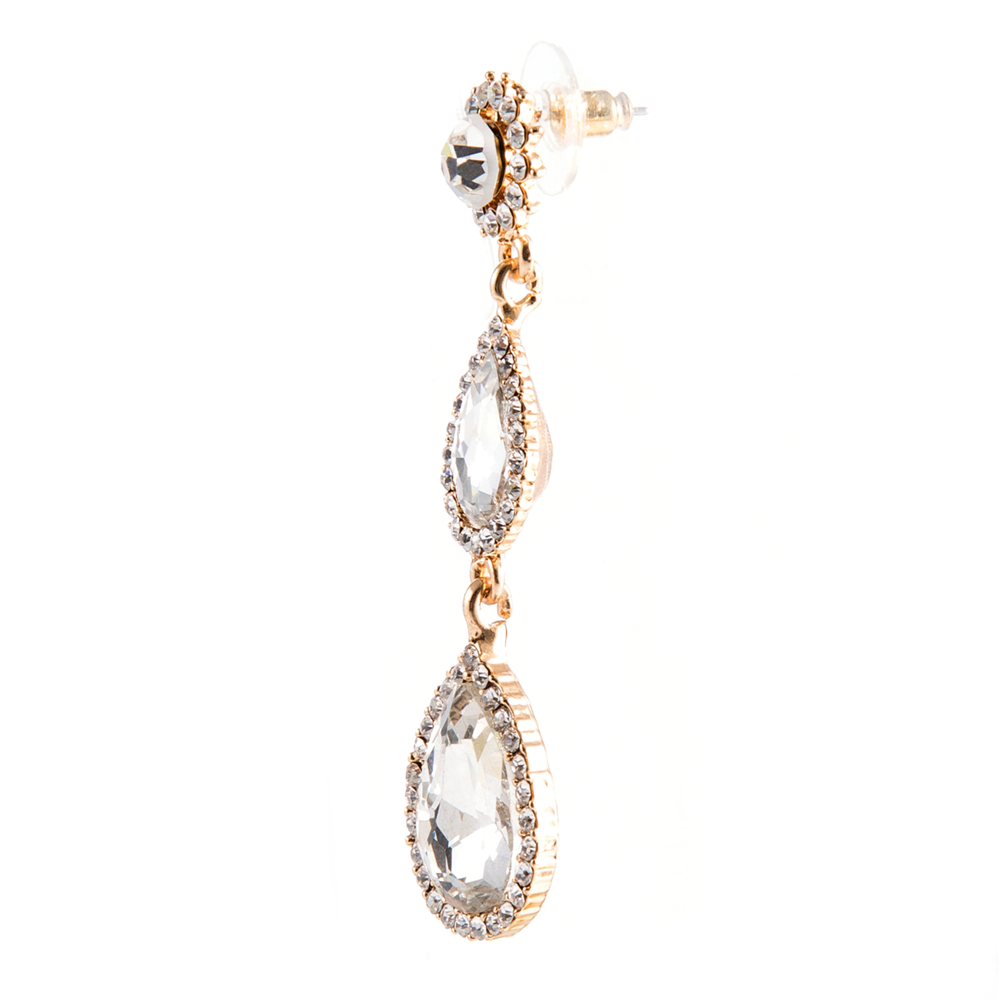 6.8 cm Crystal Bride Tear Drop Earings Vintage Wedding Earrings Brinco Statement Jewellery Brincos Mujer Ohrringe Gold Earrings