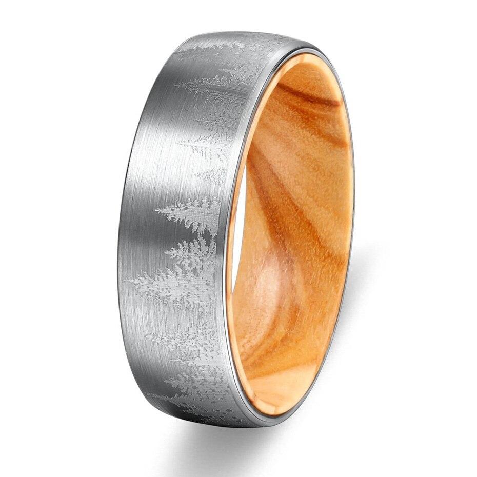 Carvort 8mm Wolfram Ring Gelasert Wald Landschaft Mens Gebürstet Hochzeit Band mit Oliver Holz Hülse