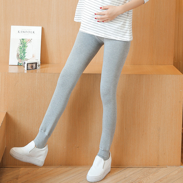 Pregnant women pants autumn and winter warm care belly leggings thick pants Big pockets plus cashmere Maternity pants cotton