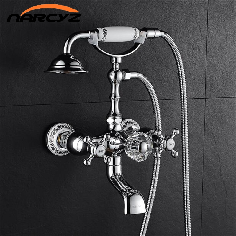 Shower Faucets Faithful Luxury Bathtub Faucet Brass Chrome Silver Wall Mounted Rain Shower Faucet Round Handheld 2 Handle Bathroom Mixer Tap Set Xt359