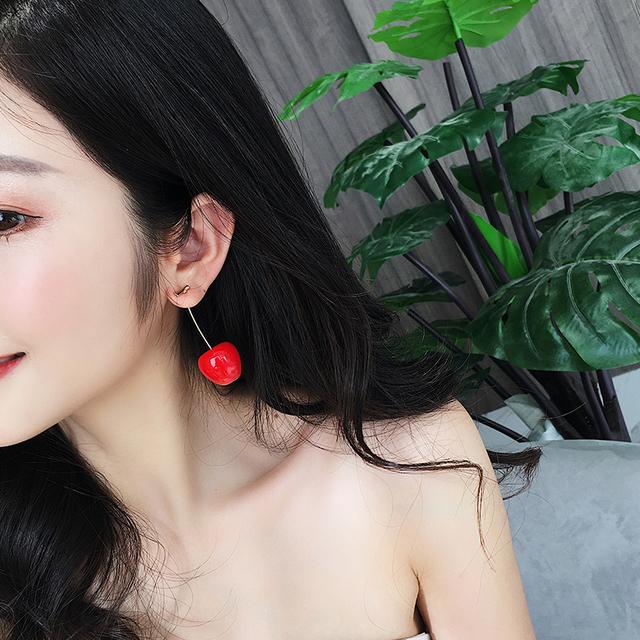 Red Cherry Romantic Round Women Dangle Earrings
