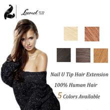 Nail Tip Brazilian Virgin Hair Straight  0.5g/strand 50g U Tip Remy Human Hair Extensions 100 Strands 16-24inch 5Colors In Stock