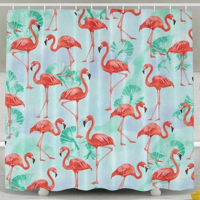 Flamingo Paradise Flamingos Water Watercolor Flower Home Decor Shower CurtainFabric Bathroom Set