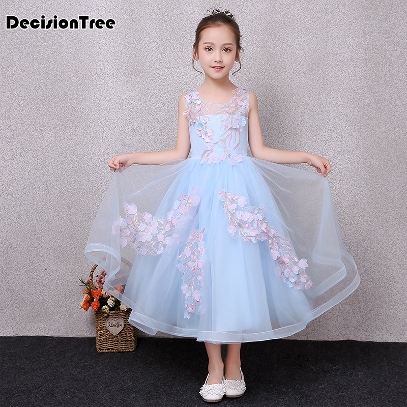 2019 new children princess girl floral long dresses for wedding party pageant communion dress prom gown for girl frocks