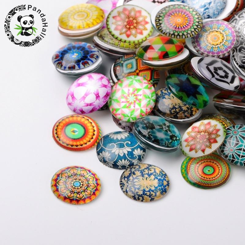 10mm 12mm 14mm 16mm 18mm 20mm 25mm Round Mixed Pattern Glass Cabochons Fit Flatback Base Jewelry Making