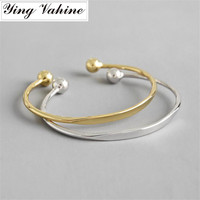 New Silver & Gold Bangle 925 Sterling Silver Round Beads Open Bangles for Women Nail Bracelets & Bangles Luxury Brand Jewelry