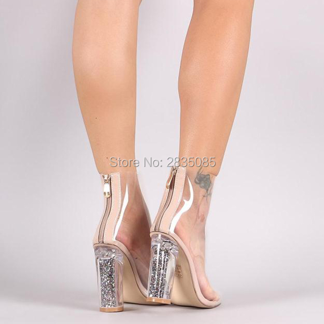 904b31b17f6bbc New Fashion 2018 Sparkle Glitter Heel Women Booties Sexy Perspex Clear  Plastic High Heels PVC Transparent Ankle Boots Peep Toe -in Ankle Boots  from Shoes on ...