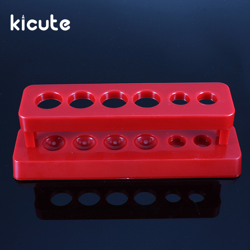 Kicute Hot Red Plastic Test Tube Rack 6 Holes Holder Support Burette Stand Laboratory Test Tube Stand Shelf Lab School Supplies