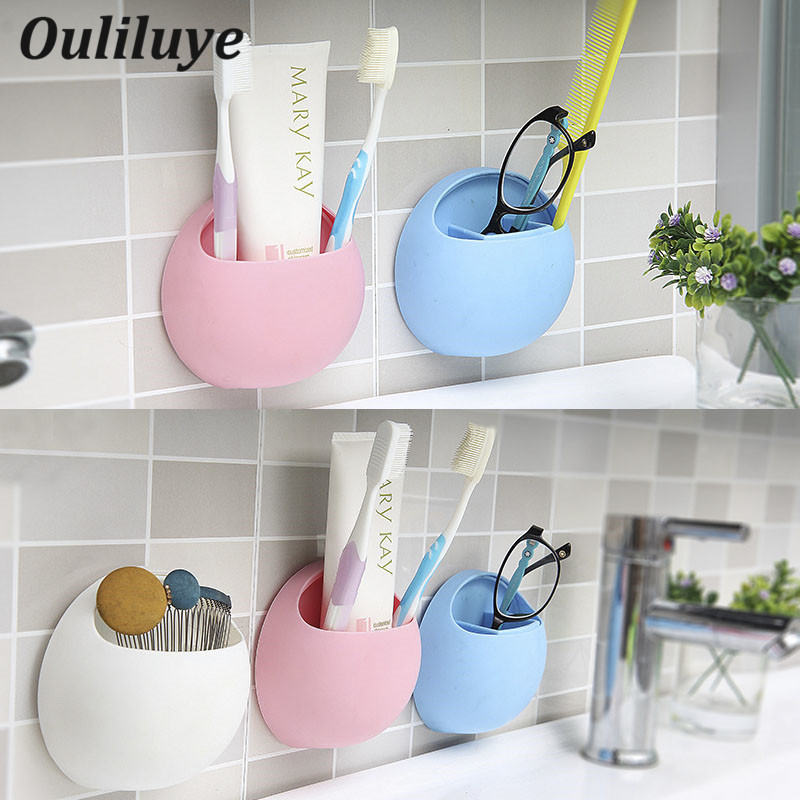Cute Eggs Design Toothbrush Holder Wall Suction Cups Shower Holder Bathroom Accessories Sucker Toothbrush Holder Suction Hooks image